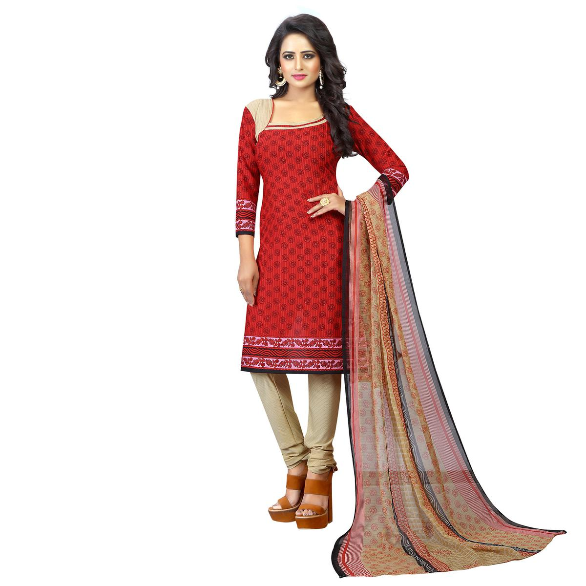 Red  - Beige Casual Wear Printed Suit