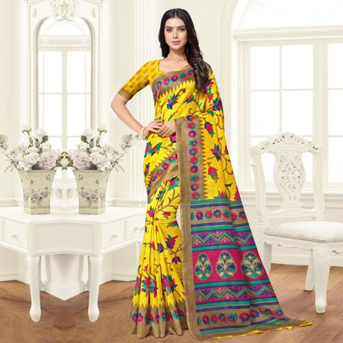 Sophisticated Yellow Colored Festive Wear Woven Silk Saree