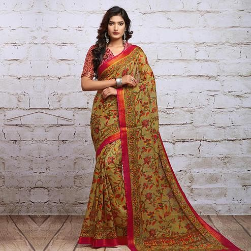 Radiant Beige Colored Partywear Floral Printed Cotton Silk Saree