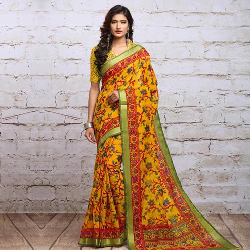 Opulent Yellow Colored Partywear Floral Printed Cotton Silk Saree