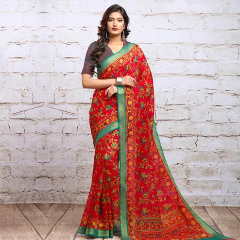 Energetic Red Colored Partywear Floral Printed Cotton Silk Saree