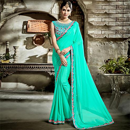 Green Designer Embroidered Partywear Art Silk Saree
