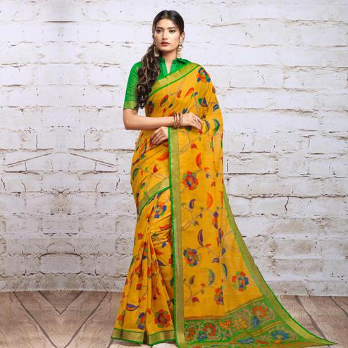 Mesmeric Yellow Colored Partywear Floral Printed Cotton Silk Saree