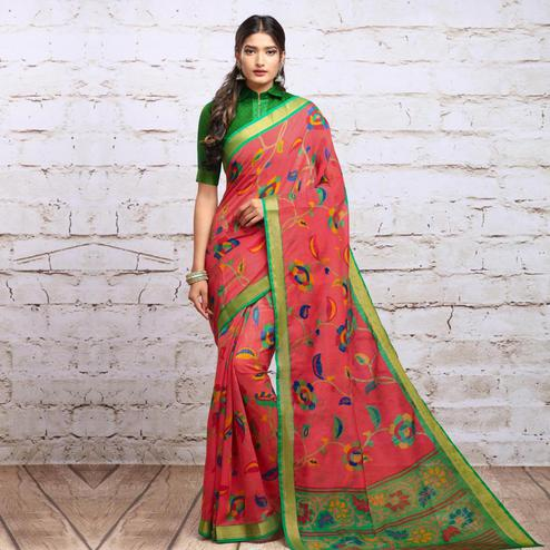 Unique Peach Colored Partywear Floral Printed Cotton Silk Saree