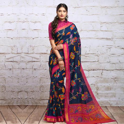 Demanding Navy Blue Colored Partywear Floral Printed Cotton Silk Saree