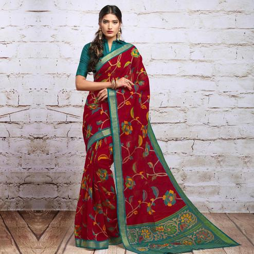 Refreshing Maroon Colored Partywear Floral Printed Cotton Silk Saree