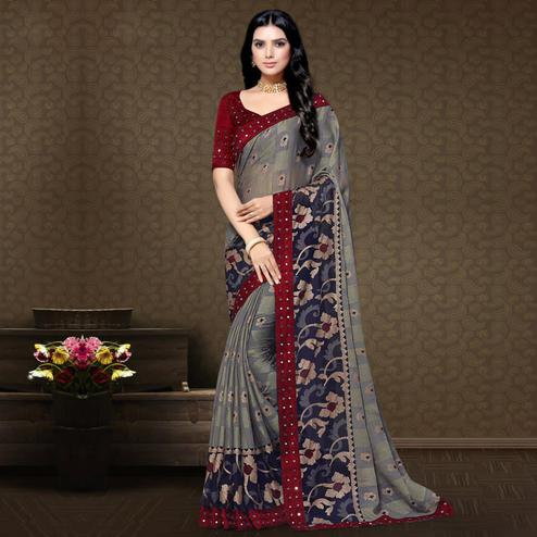 Magnetic Grey Colored Partywear Embroidered Chiffon Brasso Saree