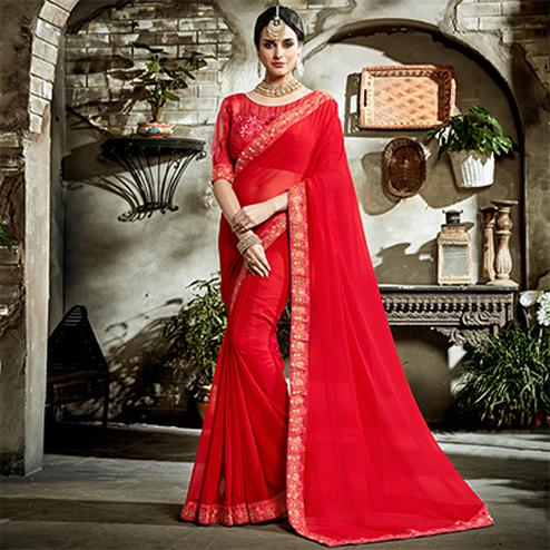 Red Designer Embroidered Partywear Art Silk Saree