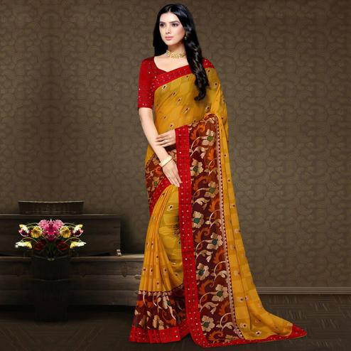 Excellent Mustard Yellow Colored Partywear Embroidered Chiffon Brasso Saree