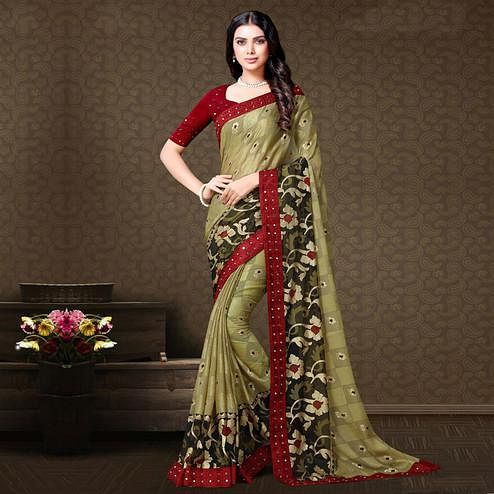 Marvellous Pastel Green Colored Partywear Embroidered Chiffon Brasso Saree