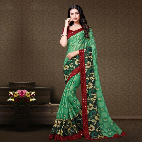 Flamboyant Turquoise Green Colored Partywear Embroidered Chiffon Brasso Saree