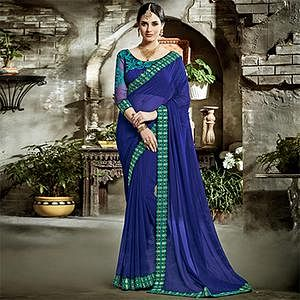 Blue Designer Embroidered Partywear Art Silk Saree