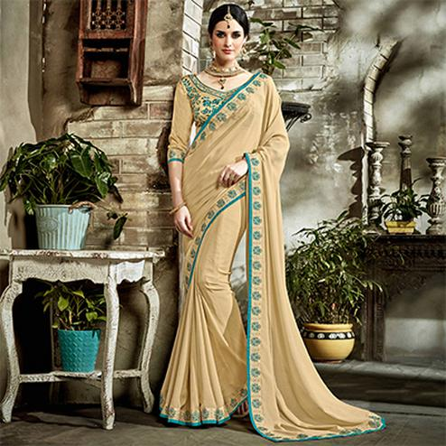 Beige Designer Embroidered Partywear Art Silk Saree