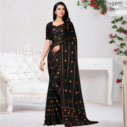 Graceful Black Colored Casual Wear Printed Chiffon Saree