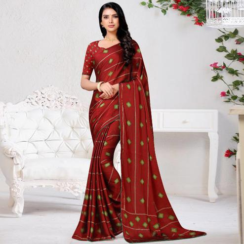 Blooming Red Colored Casual Wear Printed Chiffon Saree
