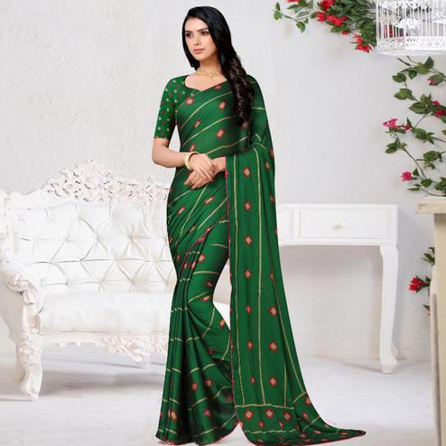 Charming Green Colored Casual Wear Printed Chiffon Saree