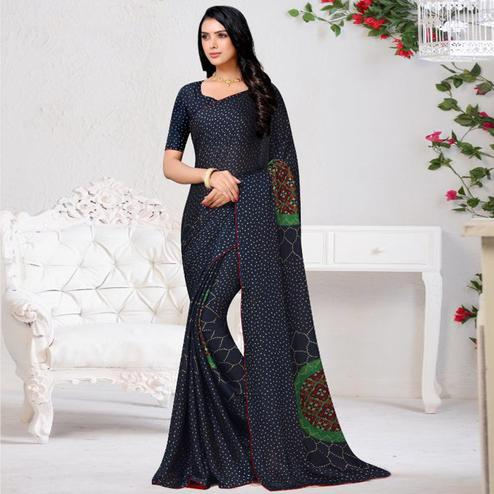 Engrossing Navy Blue Colored Casual Wear Printed Chiffon Saree