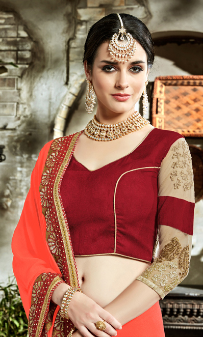 Light Orange Designer Embroidered Partywear Art Silk Saree