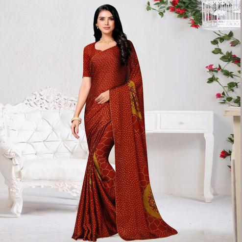 Eye-catching Red Colored Casual Wear Printed Chiffon Saree
