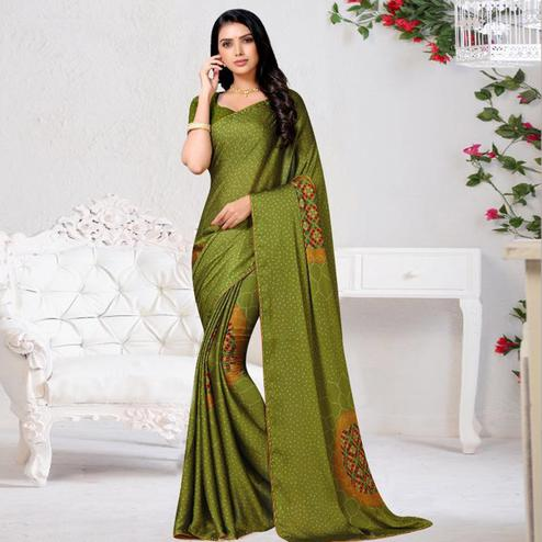 Amazing Green Colored Casual Wear Printed Chiffon Saree