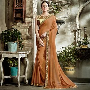Brown Designer Embroidered Partywear Art Silk Saree