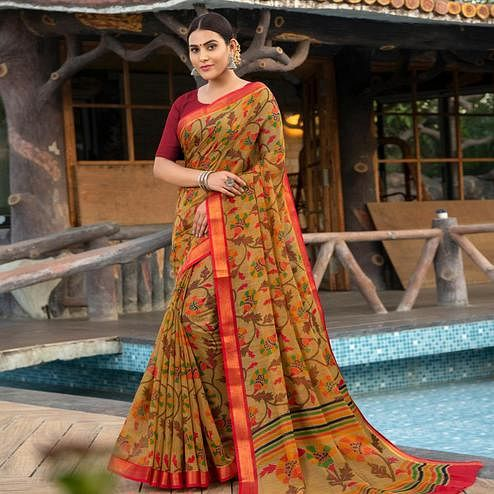 Blissful Beige Colored Festive Wear Woven Cotton Silk Saree