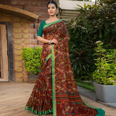Ideal Brown Colored Festive Wear Woven Cotton Silk Saree