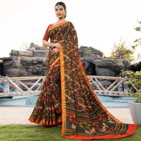 Lovely Black Colored Festive Wear Woven Cotton Silk Saree
