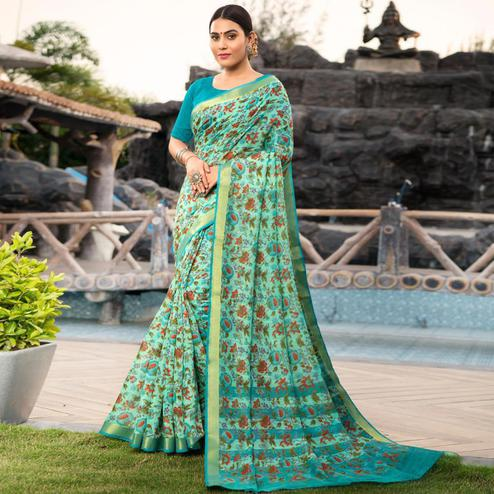 Majesty Aqua Blue Colored Festive Wear Woven Cotton Silk Saree