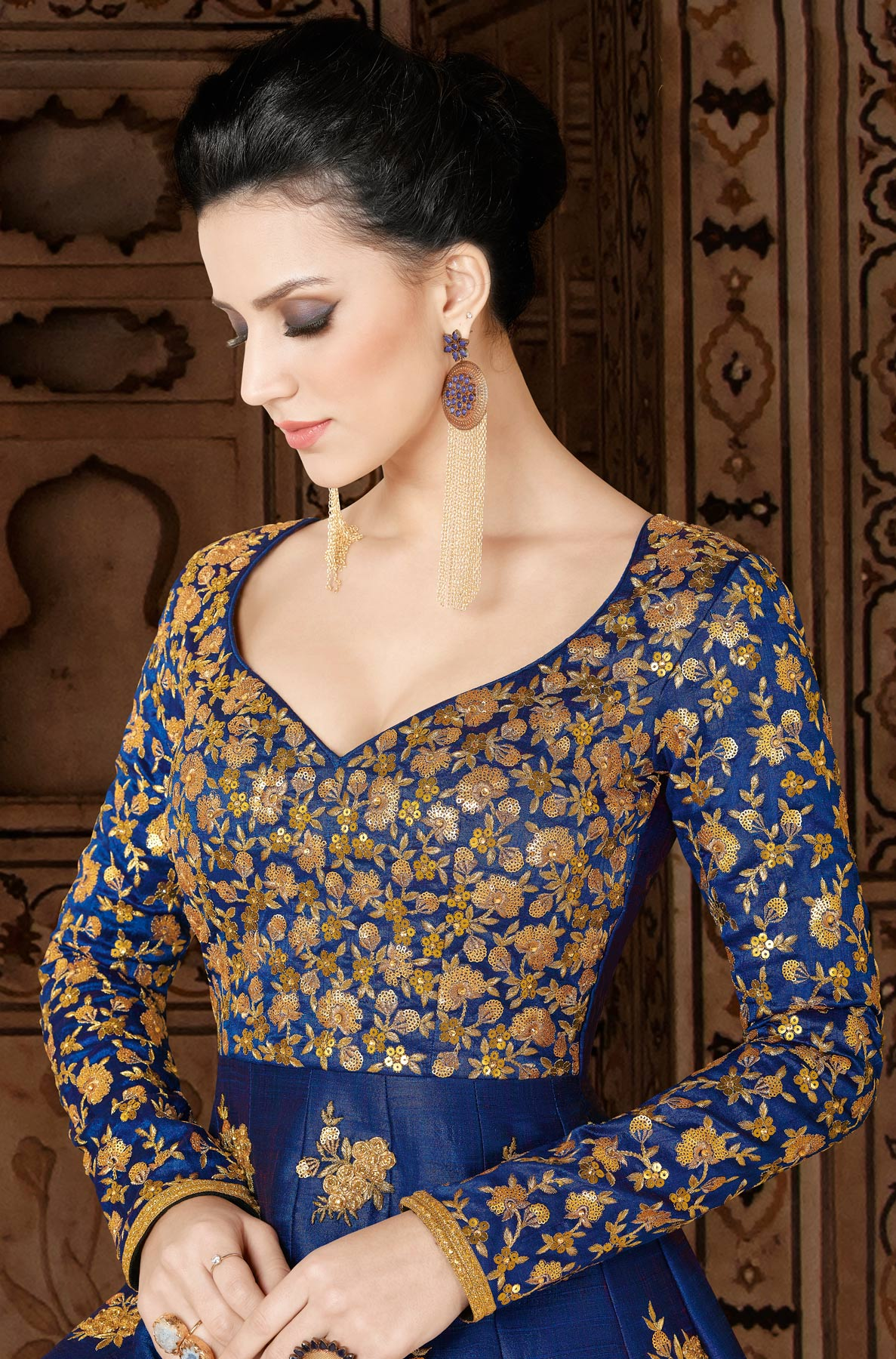 Stunning Navy Blue Designer Embroidered Partywear Heavy Mulberry Silk Abaya Style Anarkali Suit