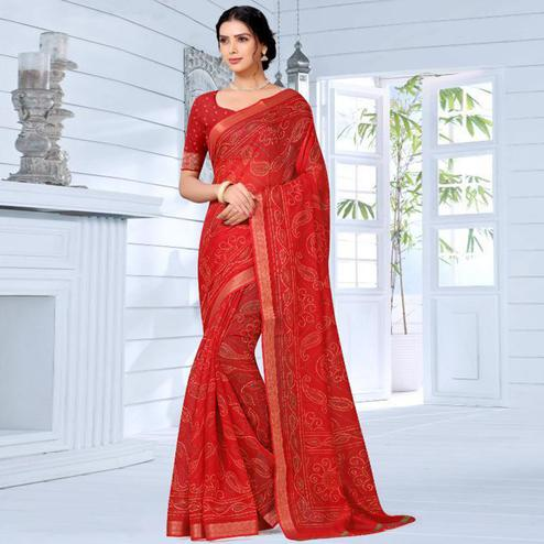 Staring Red Colored Festive Wear Woven Bandhani Cotton Silk Saree