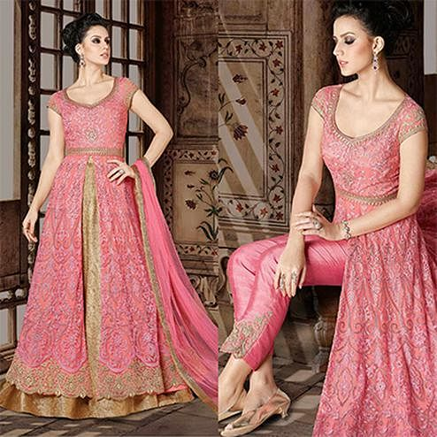 Mesmerising Pink Colored Designer Embroidered Partywear Heavy Net Anarkali Suit / Lehenga Kameez