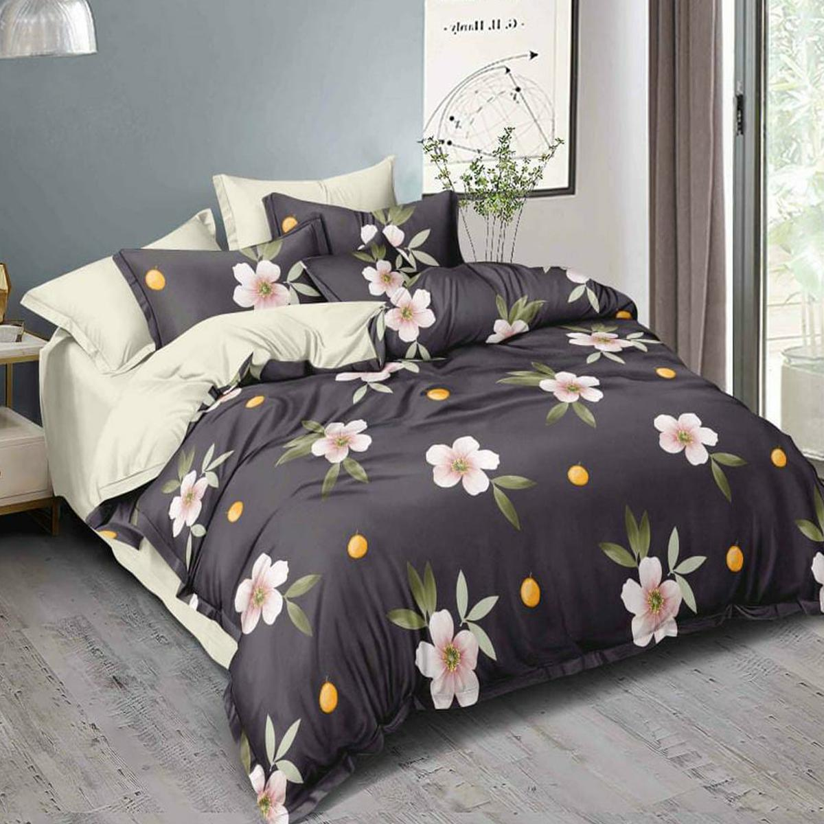 Demanding Dark Grey Colored Printed Double Bedsheet With Pillow Cover