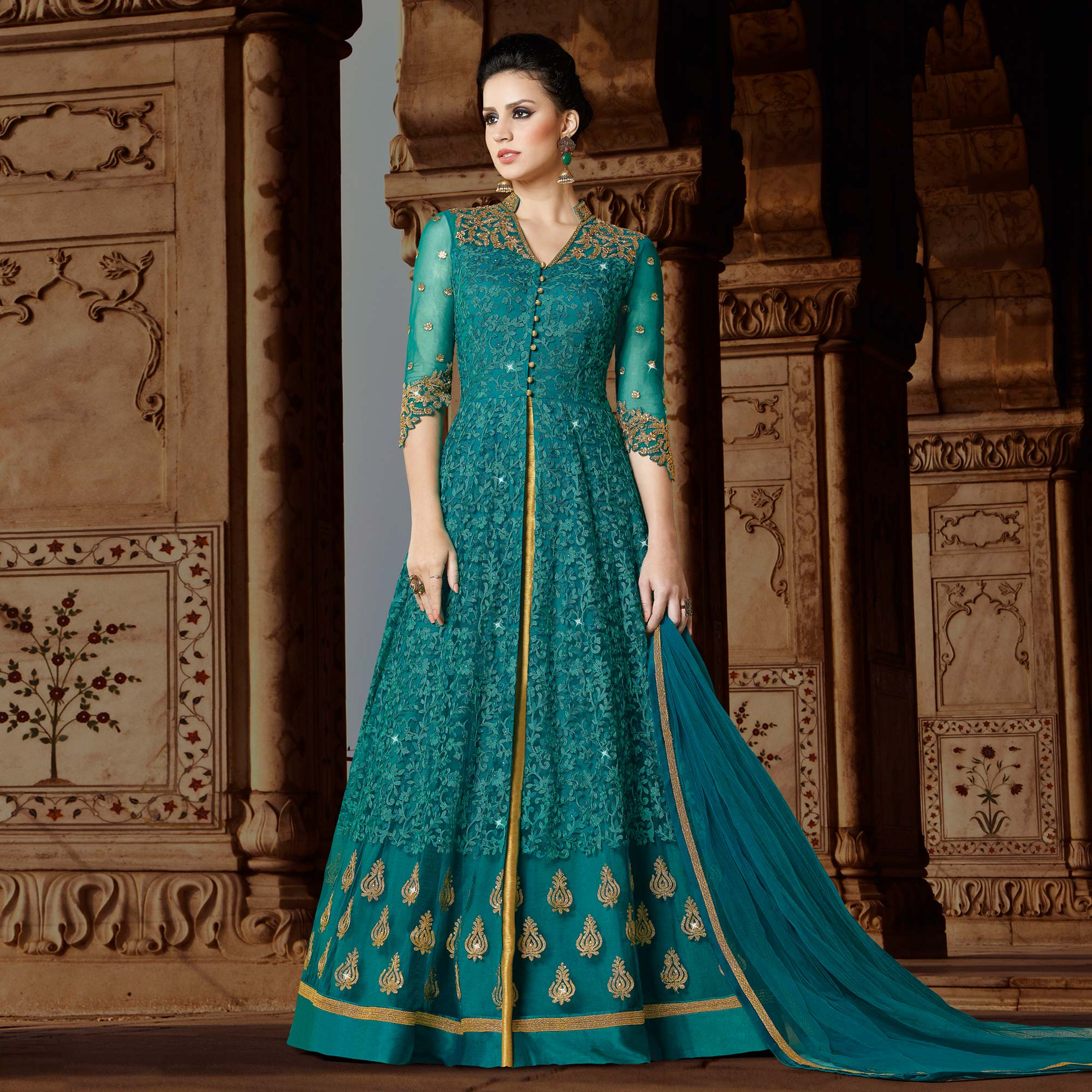 Graceful Green Designer Embroidered Partywear Net Anarkali Suit