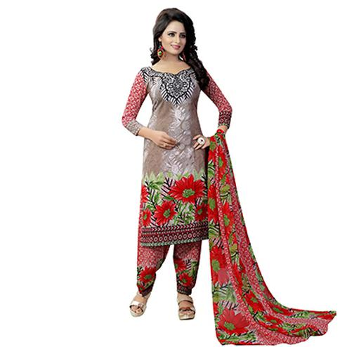 Brown - Red Floral Print Salwar Suit