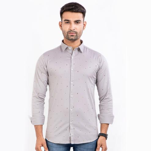 A&M Clothes - Grey Colored Printed Regular Fit Shirt for Men