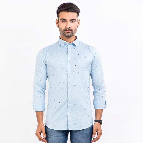A&M Clothes - Light Blue Colored Printed Regular Fit Shirt for Men