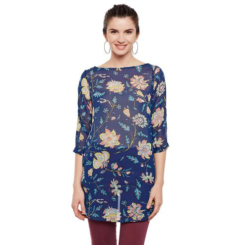 Tufafi - Women Blue Color Floral Printed Georgette Tunic