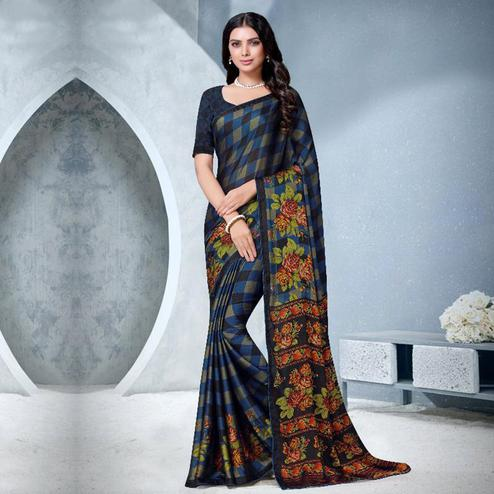 Prominent Navy Blue Colored Partywear Checkered Printed Chiffon Saree