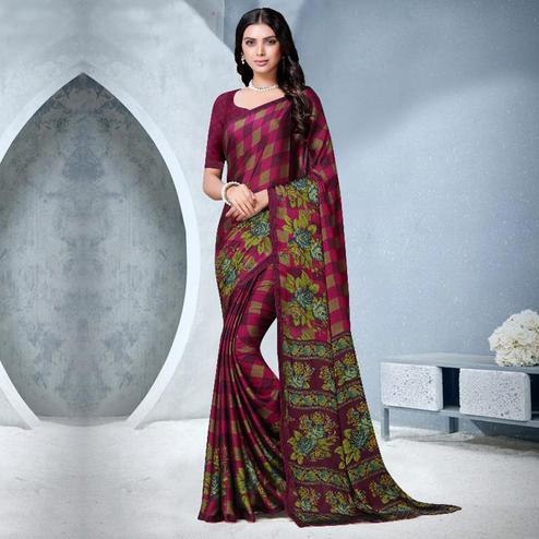 Exclusive Pink Colored Partywear Checkered Printed Chiffon Saree
