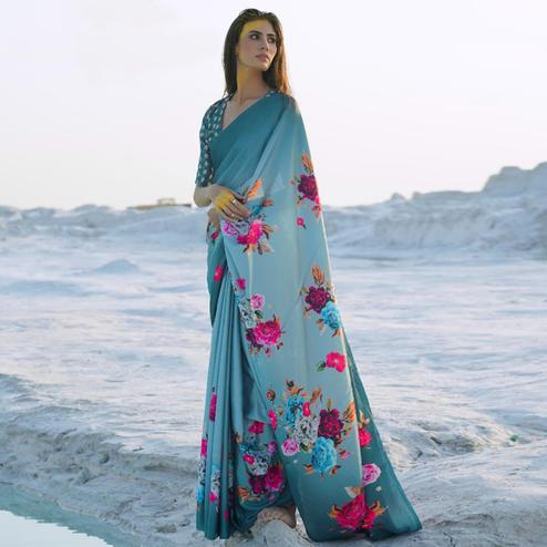 Stunning Dusty Blue Colored Partywear Digital Printed Japan Satin Crepe Saree
