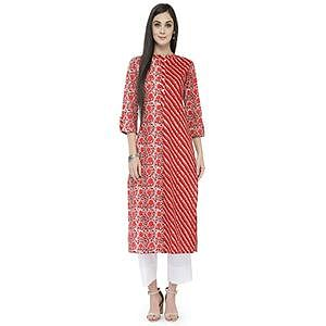 Rust Colored Printed Pure Cotton Kurti
