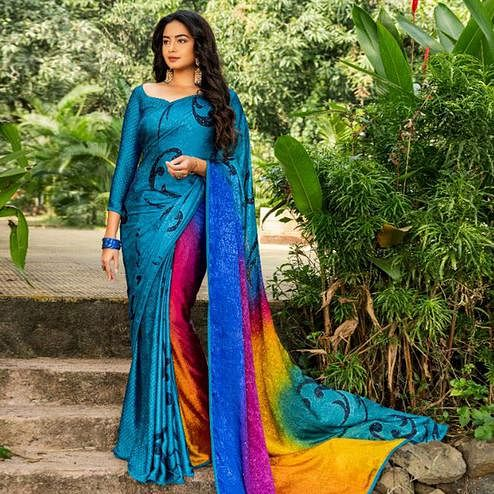Glorious Peacock Blue Colored Partywear Printed Silk Crape Saree