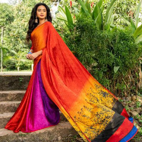 Attractive Red - Multi Colored Partywear Printed Silk Crape Saree