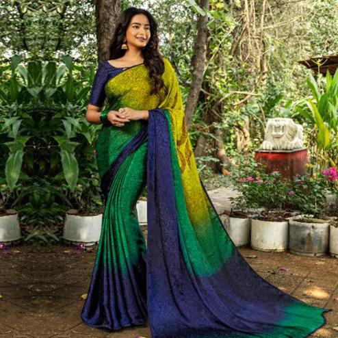 Blooming Green Colored Partywear Printed Silk Crape Saree