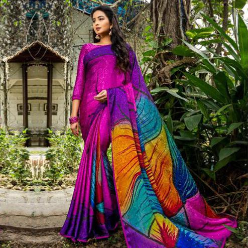 Jazzy Purple - Multi Colored Partywear Printed Silk Crape Saree