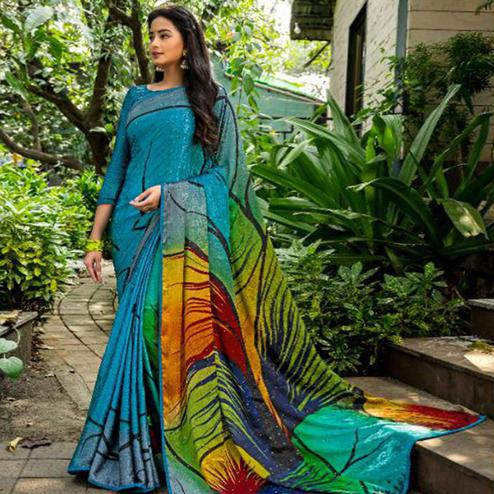 Delightful Turquoise Blue - Multi Colored Partywear Printed Silk Crape Saree