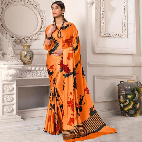 Arresting Orange Colored Designer Partywear Printed Satin Silk Saree