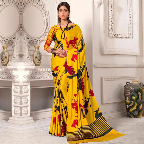 Desirable Yellow Colored Designer Partywear Printed Satin Silk Saree