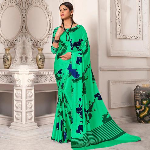 Exotic Turquoise Green Colored Designer Partywear Printed Satin Silk Saree